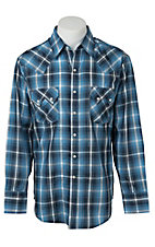 Ely Cattleman Men's Blue with Silver Lurex Plaid Western Shirt