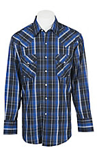 Ely Cattleman Men's Blue Lurex Plaid Western Shirt
