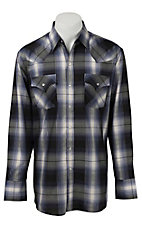 Ely Cattleman Men's Blue & Black Lurex Plaid Western Shirt