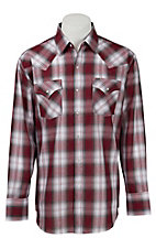 Ely Cattleman Men's Red & Grey Lurex Plaid Western Shirt