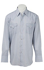 Ely Cattleman Men's White & Blue Plaid Western Shirt