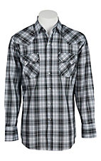 Ely Cattleman Men's Black Plaid with Silver Lurex Western Shirt