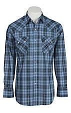Ely Cattleman Men's Blue Plaid with Silver Lurex L/S Western Shirt