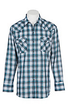 Ely Cattleman Men's Black, White and Teal Plaid L/S Western Snap Shirt