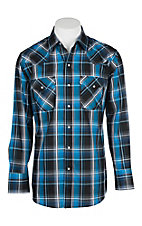 Ely Cattleman Men's Black, White and Blue Plaid L/S Western Snap Shirt