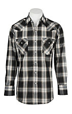 Ely Cattleman Men's Grey and Black Plaid L/S Western Snap Shirt