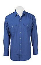 Ely Cattleman Men's Royal Tone on Tone L/S Western Shirt
