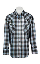 Ely Cattleman Men's Black, Blue, and White L/S Western Snap Shirt