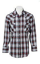 Ely Cattleman Men's White and Black Plaid with Silver Lurex L/S Western Shirt
