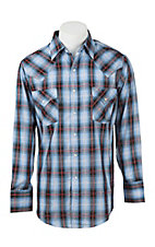 Ely Cattleman Men's Blue and White Plaid with Silver Lurex L/S Western Shirt