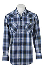 Ely Cattleman Navy Plaid L/S Fashion Shirt