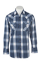 Ely Cattleman Men's Blue Textured Plaid L/S Western Fashion Shirt