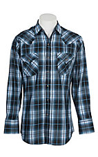 Ely Cattleman Men's Blue and Black Plaid Western Snap Shirt