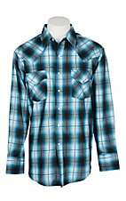 Ely Cattleman Men's Textured Light Blue Plaid L/S Western Snap Shirt