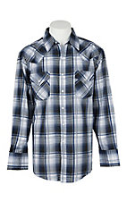 Ely Cattleman Men's Blue and White Plaid L/S Western Snap Shirt