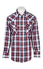 Ely Cattleman Men's Red, White and Blue Plaid L/S Western Snap Shirt