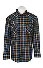 Ely Cattleman Men's Textured Navy Plaid L/S Western Snap Shirt