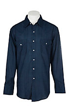 Ely Cattleman Men's Solid Navy Plaid L/S Western Snap Shirt