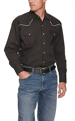 Ely Cattleman Men's Black Long Sleeve Western Shirt