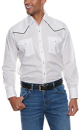 Ely Cattleman Men's White Long Sleeve Western Shirt - Big & Tall