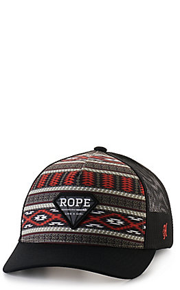 Hooey Girls' Black with Red and Grey Aztec Rope Like A Girl Cap