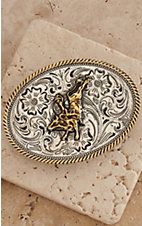 AndWest Kids Silver Scrolling with Gold Bull Rider Oval Belt Buckle