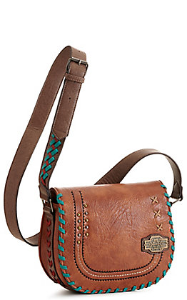 Catchfly Baily Russet with Turquoise and Red Stitching Saddle Bag