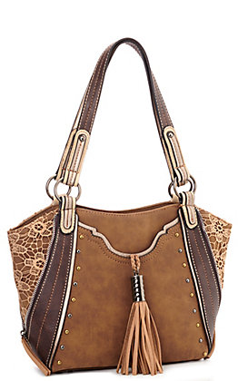 Justin Tan Faux Leather with Lace & Tassel Concealed Carry Handbag