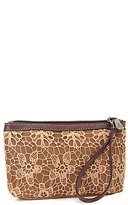Justin Brown with Cream Lace Cosmetic Bag