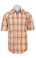 Stetson Men's Orange & Maroon Plaid Short Sleeve Western Shirt