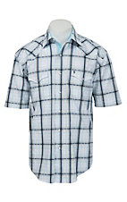 Stetson Men's White, Navy & Light Blue Plaid Short Sleeve Western Shirt