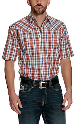 Stetson Men's Orange and Blue Dobby Plaid Short Sleeve Western Shirt - Cavender's Exclusive