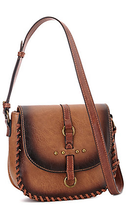 Justin Amber Brown Faux Leather with Buckle and Studs Crossbody Saddle Bag