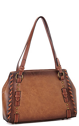 Justin Amber Brown Faux Leather with Buckle and Studs Tote Handbag