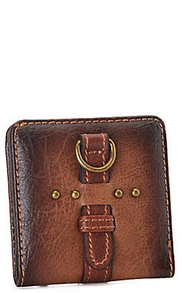 Justin Amber Brown Faux Leather with Buckle and Studs BiFold Wallet