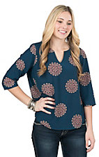 Renee C. Women's Teal Medallion Print 3/4 Bell Sleeve Fashion Top