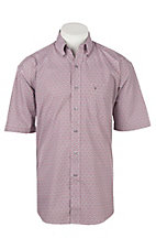 Stetson Men's Grey and Red Print Short Sleeve Western Shirt