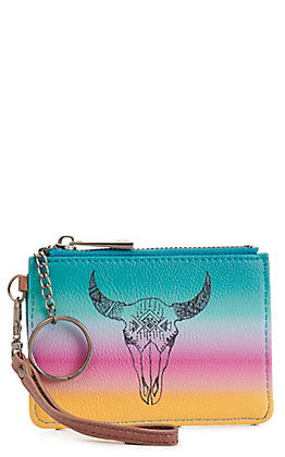 Catchfly Women's Turquoise Sunset with Cow Skull Mini ID Wallet