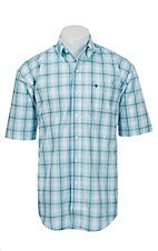 Stetson Men's Light Blue & White Plaid Short Sleeve Western Shirt