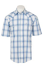 Stetson Men's White, Blue and Mint Plaid Print S/S Western Snap Shirt