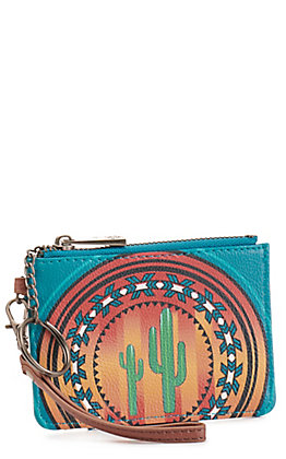 Catchfly Women's Turquoise Aztec Print Mini ID Wallet