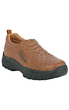 XKH Roper Men's Tan Ostrich Print Performance Sport Slip-On Shoes