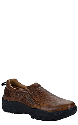 Roper Men's Vintage Tan Ostrich Print Performance Sport Slip-On Shoes