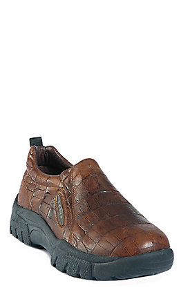 Roper Men's Brown Embossed Crocodile Print Performance Sport Slip-On Shoes