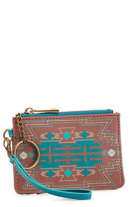 Catchfly Women's Turquoise Cactus Print Mini ID Wallet