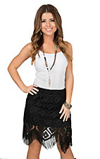 Cowgirl Hardware Women's Black Lace with Fringe Skirt
