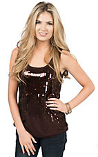 Anne French Women's Brown with Sequin Waterfall Front Tank