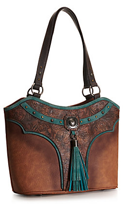 Justin Brown and Turquoise with Tooling, Studs and Tassel Concealed Carry Purse