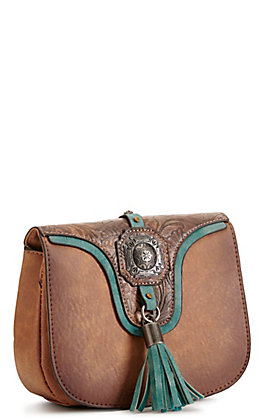 Justin Tooled Leather and Turquoise Convertible Belt Bag / Crossbody Purse