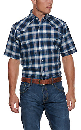 Ely Cattleman Men's Blue, White and Tan Plaid Wrinkle Resistant Short Sleeve Western Shirt
